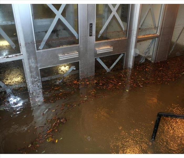 Flooded building entrance